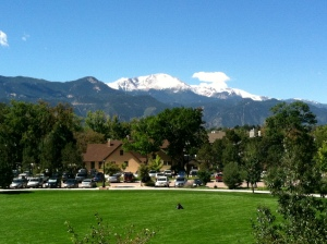 Back to school at CC.  Snow on the peak already.  This is the view form my office window, by the way.