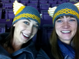 My friend Rachel and I at a CC Hockey game, taking a trial run with our Halloween costumes.  Our friend Dee's sister (see above for Dee) made these amazing Valkyrie hats by hand.